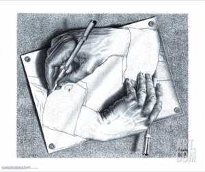 Drawing Hands by M.C. Escher via Art.com