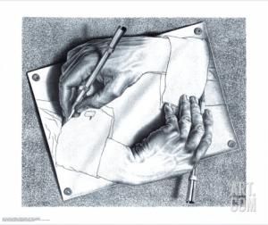 Drawing Hands by M.C. Escher via Art.com